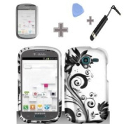 Zizo (TM) Rubberized Silver Black Vine Flower Snap on Design Case Hard Case Skin Cover Faceplate with Screen Protector, Case Opener and Stylus Pen for Samsung Galaxy Exhibit - T599 / T-Mobile
