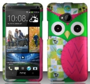 HTC One M7 (AT & T/T-Mobile/Sprint) Colourful Pink Owl Design Snap On Hard Case Protector Cover + Free Mini Stylus Pen + Free Wrist Charm Strap Lanyard