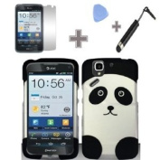 Rubberized Black Silver Panda Bear Snap on Design Case Hard Case Skin Cover Faceplate with Screen Protector, Case Opener and Stylus Pen for Pantech Flex P8010 - AT & T