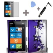 (4 Items Combo : Case - Screen Protector Film - Case Opener - Stylus Pen) Rubberized Purple Silver Vines flower Snap on Design Case Hard Case Skin Cover Faceplate for Nokia Lumia 900