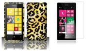 Nokia Lumia 521 / 520 - Accessory Combo Kit - Cheetah Design Shield Case + Atom LED Keychain Light + Screen Protector