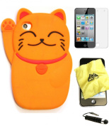 Bukit Cell ® ORANGE 3D CUTE LUCKY CAT Soft Silicone Skin Case Cover for iPod Touch 4 4G 4th Generation + BUKIT CELL Trademark Lint Cleaning Cloth + Screen Protector + METALLIC Touch Screen STYLUS PEN with Anti Dust Plug [bundle - 4 items