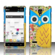 Blue Yellow Owl Hard Case Snap on Rubberized Cover for LG Optimus L9 P769