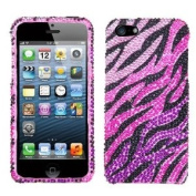 Asmyna IPHONE5HPCDM724NP Luxurious Dazzling Diamante Bling Case for iPhone 5 - 1 Pack - Retail Packaging - Pink Zebra