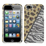 Asmyna IPHONE5HPCDM191NP Luxurious Dazzling Diamante Bling Case for iPhone 5 - 1 Pack - Retail Packaging - Gold/Silver