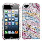 Asmyna IPHONE5HPCDM204NP Luxurious Dazzling Diamante Bling Case for iPhone 5 - 1 Pack - Retail Packaging - Colourful Zebra