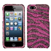 Asmyna IPHONE5HPCDM028NP Luxurious Dazzling Diamante Bling Case for iPhone 5 - 1 Pack - Retail Packaging - Hot Pink/Black