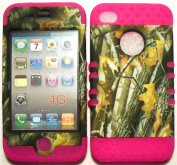 Camo 2 Oak Tree on Pink Silicone Skin for Apple iPhone 4 4S Hybrid 5.1cm 1 Rubber Cover Hard Case fits Sprint, Verizon, AT & T Wireless
