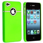 Neon Green Deluxe W/chrome Rubberized Snap-on Hard Back Cover Case for Verizon At & t Apple Iphone 4 4g