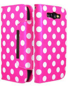 ZuGadgets 7624-2 Magenta Mini Diary Book Design Leather Polka Dot Cover / Case / Wallet / Holder with Cards Slot for Samsung Galaxy S III S3 i9300