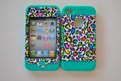 Colourful Leopard on Teal Silicone Iphone 4 4g 4s 5.1cm 1 Rubber Cover Case