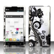 Silver Flower Rubberized Hard Cover Phone Case for Lg Optimus L9 P769