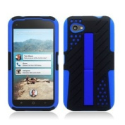 HTC First / M4 [AT & T] Hybrid Double Layer Armour Case w/ Built-in Kickstand (