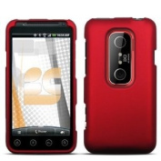 Red Rubberized Hard Phone Cover for HTC EVO 3D Protector Case