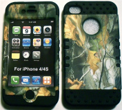 Camo Mossy Oak on Black Silicone Skin for Apple iPhone 4 4S Hybrid 5.1cm 1 Rubber Cover Hard Case fits Sprint, Verizon, AT & T Wireless