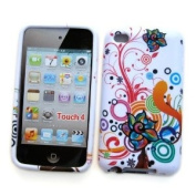 "Apple iPod Touch 4th Generation Crystal Silicone Skin Case ""Colourful Flowers"" Design, by Cellular Connexion"