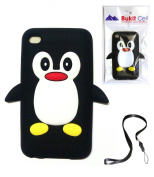 Apple IPOD TOUCH 4 4G 4TH GENERATION (ITOUCH 4 8GB 16GB 32GB) Black Penguin Silicone Silicon Case Cover + Free WirelessGeeks247 Detachable Neck Strap / Lanyard