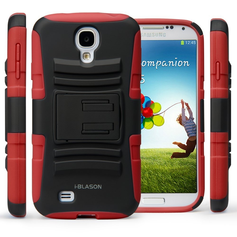 i-Blason Prime Series Dual Layer Holster Case Kick Stand Compatible with  Samsung Galaxy S4 SIV S IV i9500 with Locking Belt Swivel Clip Manufactured