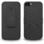 Amzer AMZ95683 Shellster Shell Case Holster Combo Case Cover with Kickstand for Apple iPhone 5, iPhone 5S (Fits All Carriers) - Black