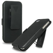 Amzer Shell Holster Case Combo with Clip Stand for all iPhone 4 - 1 Pack - Black
