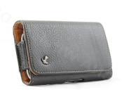 Premium Black Leather Horizontal Carrying Holster Pouch Case for LG Lucid VS840