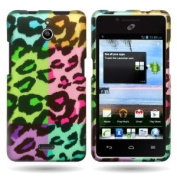 CoverON(TM) Hard Cover Case with PURPLE TEAL colourful LEOPARD DESIGN for Huawei Ascend Plus H881C With PRY- Triangle Case Removal Tool