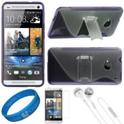 (Purple) Premium 2 Tone TPU Silicone Skin Cover w/ Durable Crystal Hard Centre & Pull Out Kickstand for HTC One M7 Android Smart Phone + Clear Anti Glare Screen Protector Strip w/ Cleaning Cloth + White VG Stereo Headphones with Windscreen Mic & Silico ..