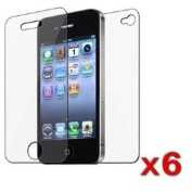 6 Pack Front and Back Reusable Screen Protector for Apple iPhone 4