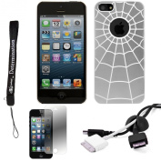 Silver Spider Web Design One-Piece Back Protective Cover For Apple iPhone 5 iOS (6) Smart Phone + BLACK Cord Organiser + Apple iPhone 5 Screen Protector + an eBigValue TM Determination Hand Strap