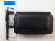 Leather Belt Clip Holster Pouch Case For iPhone 5 Lifeproof Series Case, Includes A Black Stylus Pen