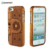 SunSmart Unique Handmade Natural Wood Wooden Hard bamboo Case Cover for iPhone 5 with free screen protector