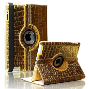 SAVEICON Gold Crocodile 360 Degrees Rotating Leather Case Smart Cover with Stand and Sleep/Wake Function for Apple iPad 3, iPad 2 (3rd Generation) Built-in Magnetic