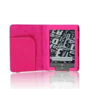 SAVEICON Hot Pink Premium Quality Custom Fit Folio Leather Case Cover for Latest Generation 2011 Kindle 4 Wi-Fi 15cm E Ink Display