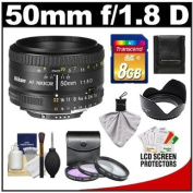 Nikon 50mm f/1.8D AF Nikkor Lens with 8GB SD Card + 3 UV/FLD/CPL filter s + Hood + Cleaning Kit for D3100, D3200, D5100, D5200, D7000, D7100, D600, D800, D4 Digital SLR Cameras