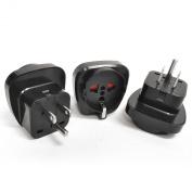 Orei GP-95 Orei Schuko European to USA Grounded Plug Adapter - 3 Pack