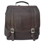Leather Vertical Backpack w Laptop Pocket in Chocolate