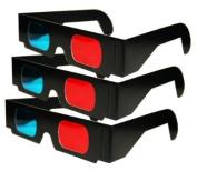 3Pr Anaglyph Black Cardboard 3D Glasses - Red & Cyan