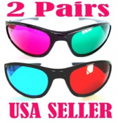 2 Pair 3D Anaglyph Glasses Blue/Red & Green/Red Full Frame