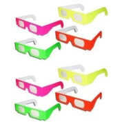 10 pairs 3D Fireworks Glasses Neon Multi-Starbursts of 3D Colour