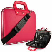 Pink Cady Executive Leather Hard Cube Carrying Case with Shoulder Strap For HP SlateBook X2 Tablet 26cm Android 4.2 (Jelly Bean) Tab