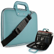 Blue Cady Executive Leather Hard Cube Carrying Case with Shoulder Strap For HP SlateBook X2 Tablet 26cm Android 4.2 (Jelly Bean) Tab