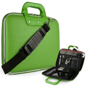 Green Cady Executive Leather Hard Cube Carrying Case with Shoulder Strap For HP SlateBook X2 Tablet 26cm Android 4.2 (Jelly Bean) Tab