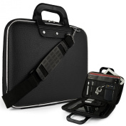 Black Cady Executive Leather Hard Cube Carrying Case with Shoulder Strap For HP SlateBook X2 Tablet 26cm Android 4.2 (Jelly Bean) Tab