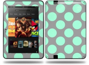 Kearas Polka Dots Mint And Grey Decal Style Skin fits Amazon Kindle Fire HD 23cm