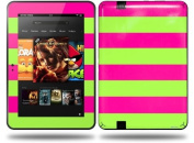 Psycho Stripes Neon Green and Hot Pink Decal Style Skin fits Amazon Kindle Fire HD 23cm