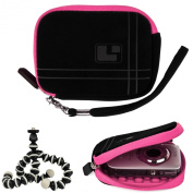 Aero Bump Protective Microsuede Sleeve Case (Pink) For Canon PowerShot Point And Shoot Digital Cameras + Mini Tripod