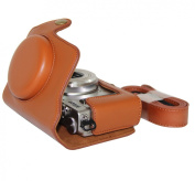 """MegaGear """"Ever Ready"""" Protective Light Brown Leather Camera Case, Bag for Nikon COOLPIX A with 28mm lens"""