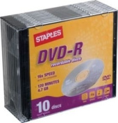 Staples DVD-R Recordable Discs, 10/Pack