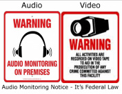 2 PK VAS #0408 VIDEO & AUDIO WARNING DECALS - IT'S FEDERAL LAW!