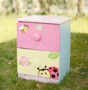 Fantasy Fields - Magic Garden themed 2 Drawer Wooden Bedside Table Night Stand Cabinet for Kids Storage | Hand Crafted & Painted Details | Child Friendly Water-based Paint